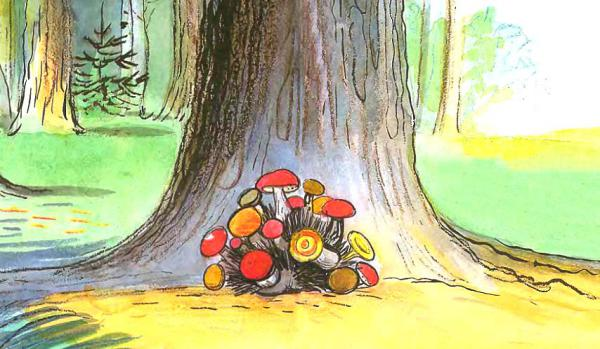 Сказка Живые грибы - Сутеев В.Г. История в картинках.