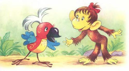 Будем знакомы мартышка и попугай