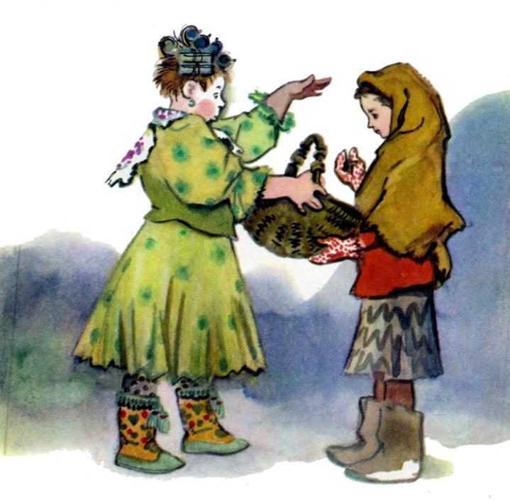 дочь дает корзину для подснежников