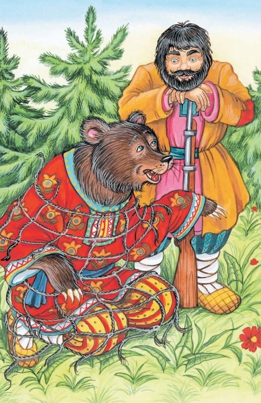 Медведь в сетях - басня Крылова