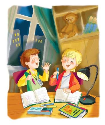 мальчики делают домашнее задание