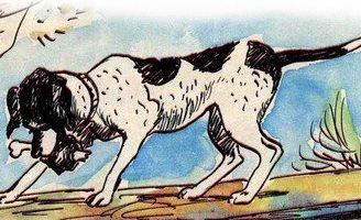 Собака и ее тень — Толстой Л.Н. Басня про жадную собаку.