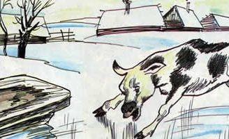 Теленок на льду — Толстой Л.Н. Басня про теленка, познающего мир.