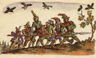 Семеро храбрецов — Братья Гримм про семерых храбрецов с копьём