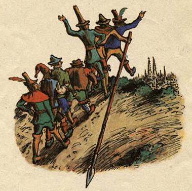 Семеро храбрецов - Братья Гримм про семерых храбрецов с копьём