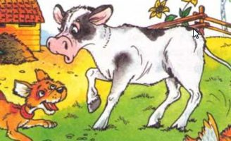 Вечер — Житков Б.С. Рассказ про теленка, который испугался щенка.