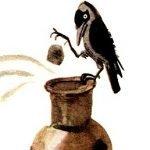 Галка и кувшин - Толстой Л.Н. Басня про смекалистую галку.