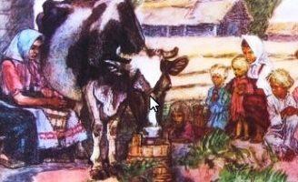 Корова — Толстой Л.Н. Рассказ про бедную семью и корову.