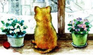Морозное окошко - Абрамцева Н. Сказка про котенка.