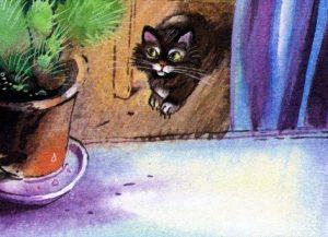 Про колючки - Абрамцева Н. Сказка про котенка и кактус.