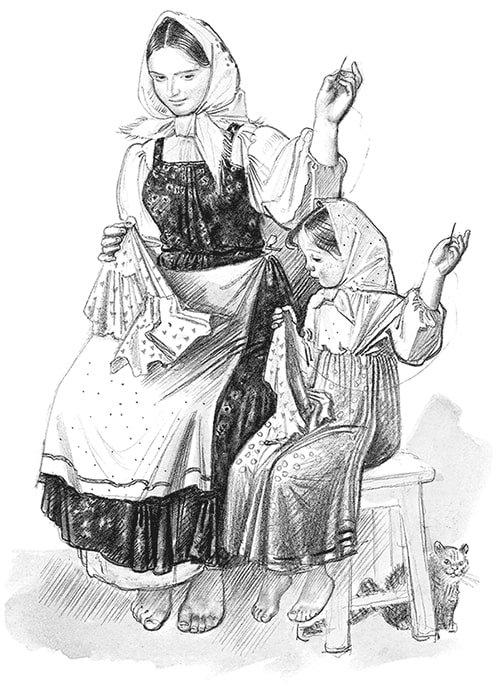 Как тётушка рассказывала о том, как она выучилась шить - Толстой Л.Н.